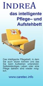 Informationsblätter / Flyer für das INDREA – Aufstehbett – Pflegebett